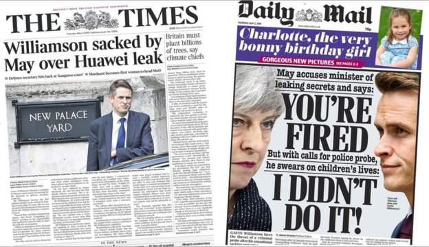 英国广播公司:特里萨? 梅解雇国防部长实际上是为了为自己树敌。
