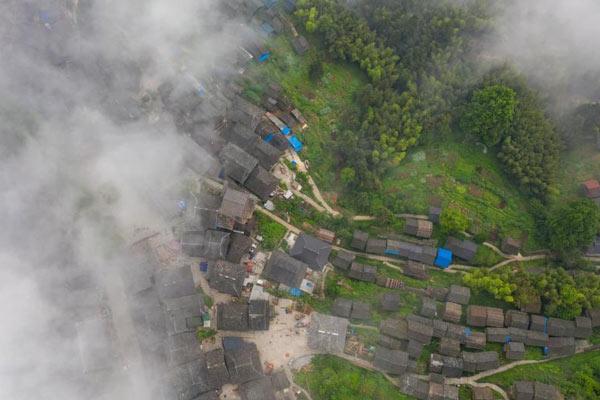 航拍传统村落贵州岜沙村苗寨