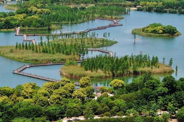 """航拍苏州虎丘湿地公园聚焦城市""""绿肺"""""""