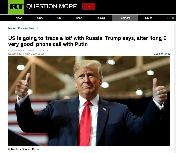 """和普京通完电话,特朗普:美国将与俄罗斯""""贸易多多"""""""