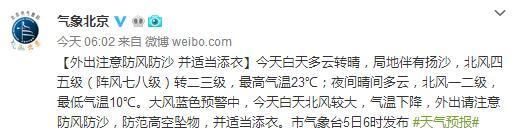 北京今日8級陣風狂吹 最低溫度僅10℃
