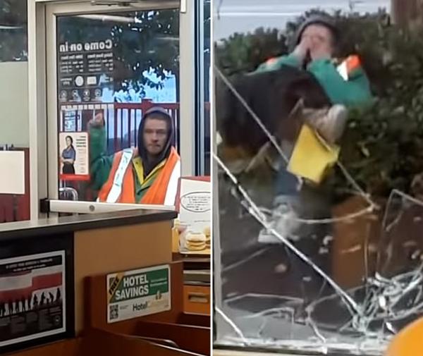 美一流浪汉故意用头撞破麦当劳玻璃 坐等被捕