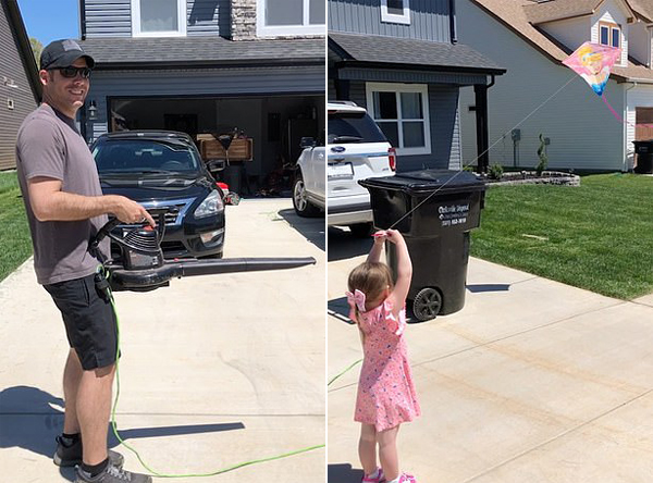创意!美一父亲用吹叶机帮助三岁女儿放飞风筝