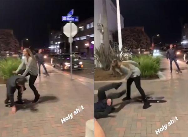 美国一女子痛打酒后街头玩滑板试图炫技男友
