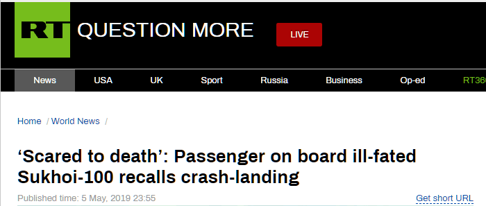 俄起火客机生还者回忆:飞机像蚂蚱一样弹跳,吓得快要失去知觉