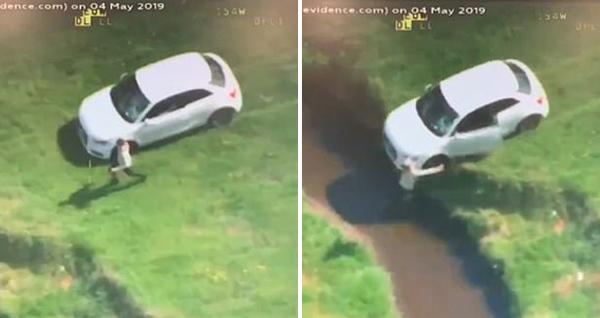 英国警察追击偷车青少年致失窃车辆撞进小溪