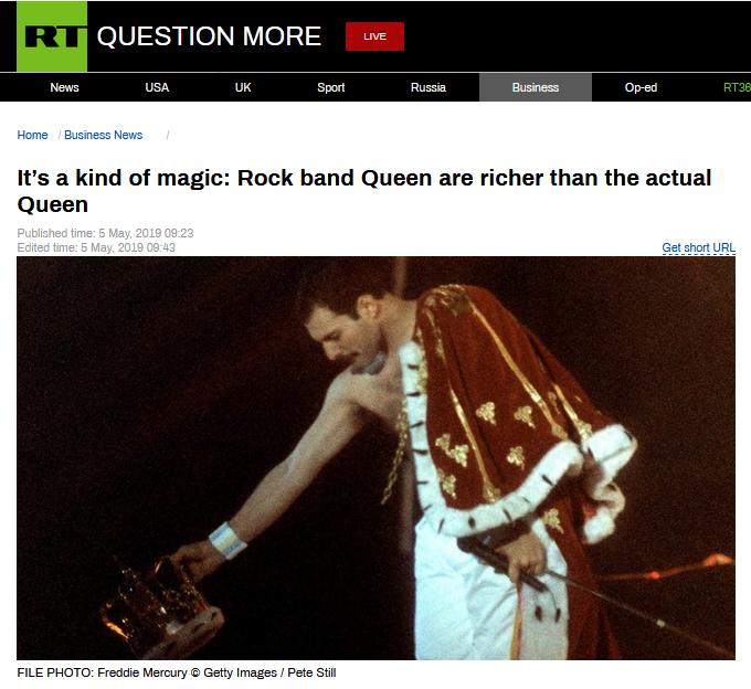 皇后乐队比真皇后更富有?英媒公布新富豪榜