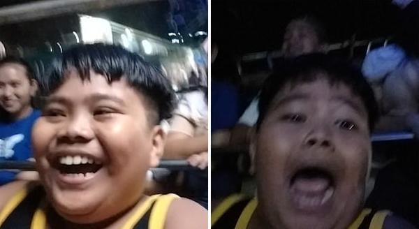 滑稽一刻!菲律宾男孩首次坐海盗船大喜变大悲