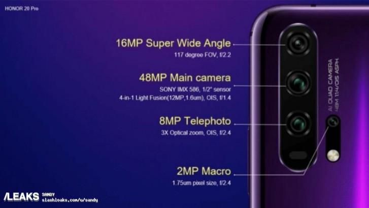 荣耀20 Pro相机规格曝光:后置四摄+专业微距镜头