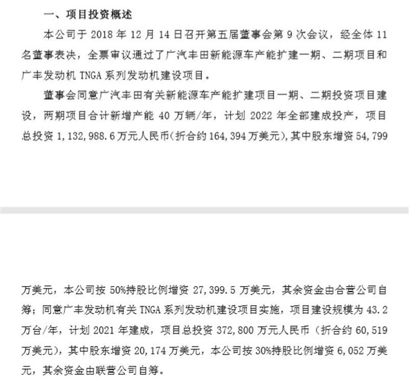 广汽丰田新能源车产能扩建项目获批 总投?#35270;?13亿元