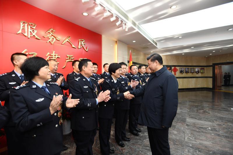 2019-06-19,习近平到北京市公安局考察调研,看望公安干警,并视频连线一线执勤民警。