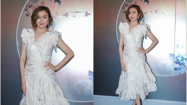 关之琳穿白色蓬蓬裙少女心不减 凹造型秀好身段气质优雅