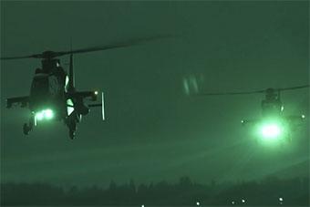 武直夜間出動場景罕見曝光 陸航部隊科爾沁訓練