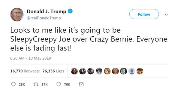 """特朗普发推预测大选对手:""""昏昏欲睡的乔""""要胜过""""疯狂的伯尼"""""""
