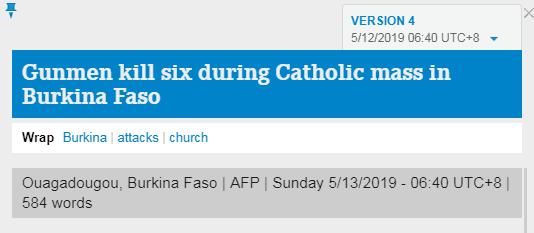 布基纳法索一天主教堂遭枪击,致6人遇难