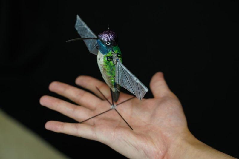AI模仿蜂鸟飞行 微型扑翼无人机仅12克重