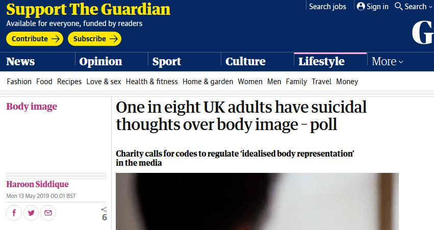 惊!民调:因苦恼自身形象,八分之一英国成年人想自杀