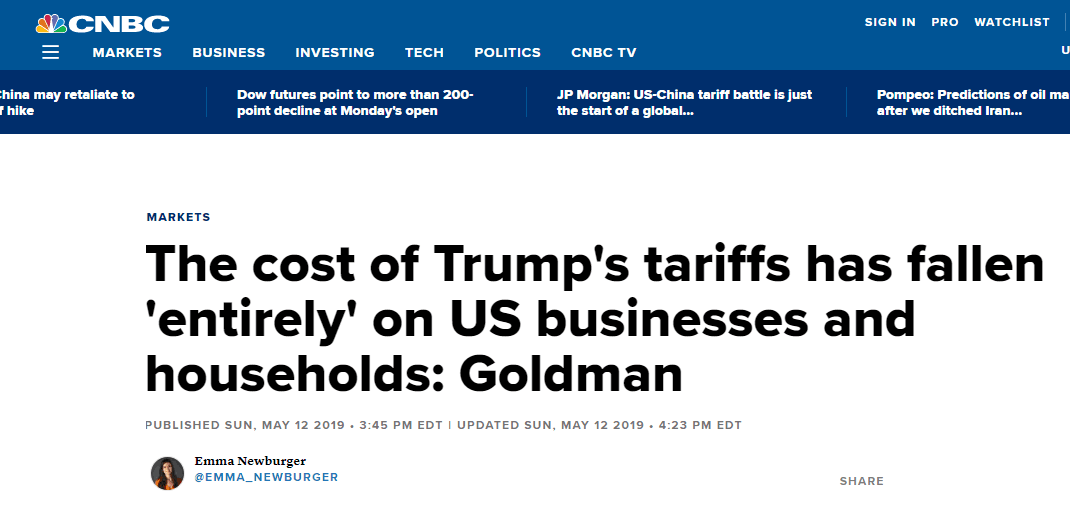 """特朗普错了!高盛报告:对华加征关税成本""""完全转嫁给""""美企业和家庭_法国新闻_法国中文网"""