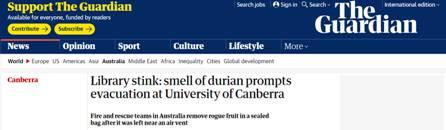 澳大利亚一大学图书馆紧急疏散,罪魁祸首居然是一块榴莲_法国新闻_法国中文网