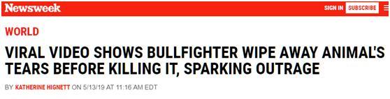 尊重还是伪善?斗牛士杀死公牛前为其擦干血泪