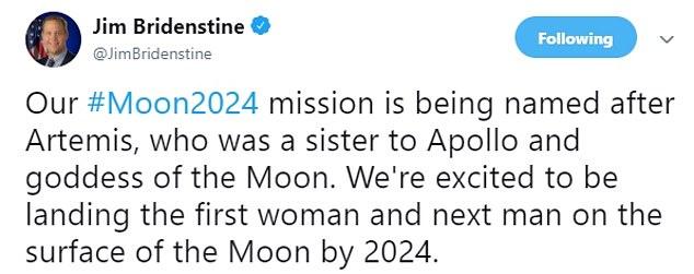 NASA局长:首位女性宇航员将在2024年登月