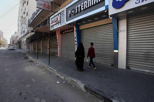 """加沙巴勒斯坦店铺关门罢工 纪念第71个""""灾难日"""""""