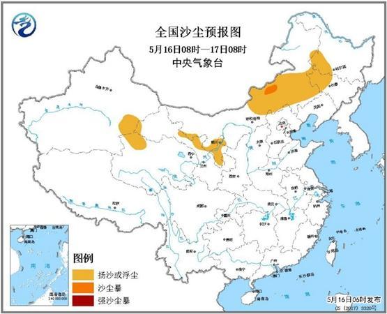 沙尘暴蓝色预警:内蒙古吉林等北方5省区有扬沙或浮尘