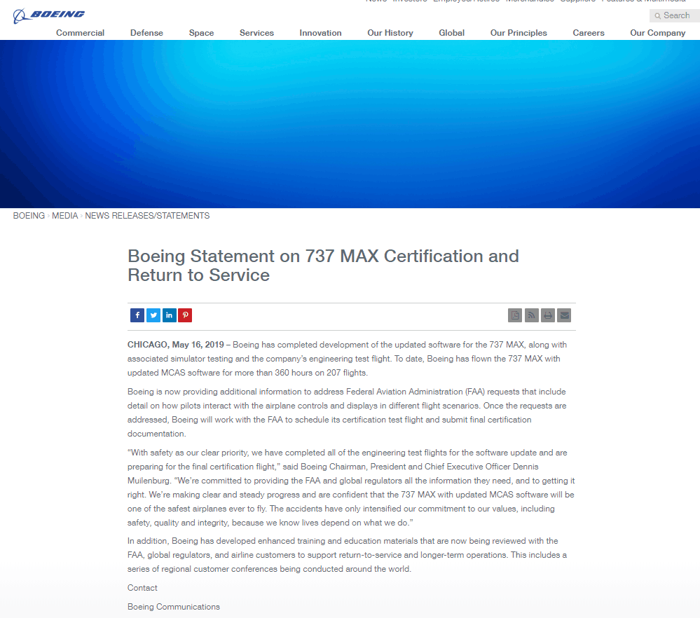 波音:已完成737 MAX型飞机系统软件修复