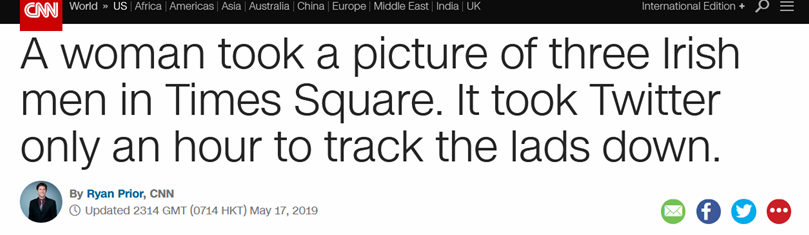 为3陌生男子拍照没留电话,美国一女子靠推特仅花不到1小时找到人
