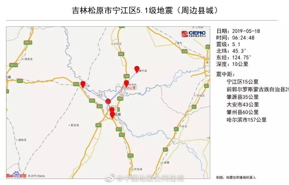 哈尔滨长春震感强烈,吉林松原市发生5.1级地震