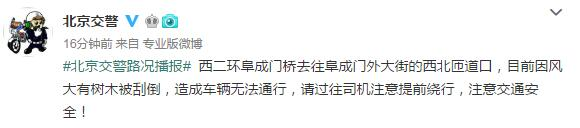北京交警:阜成门外大街一树木被刮倒,造成车辆无法通行