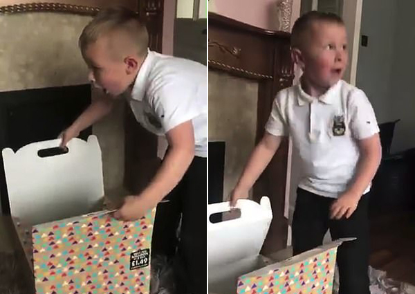 英男孩收到祖父母送心爱小狗忍不住喜极而泣