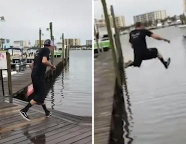 美国一男子误判水深从码头跳水遇尴尬引人哄笑