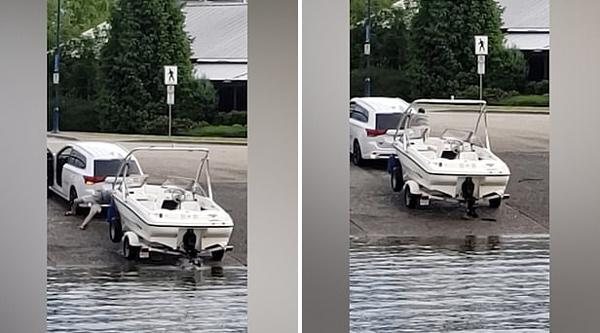 加男子用越野车拖快艇上岸失败致车船滑入海
