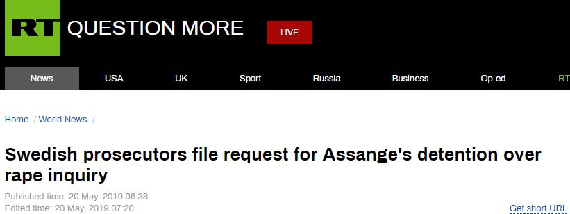 瑞典检方以调查强奸案为由,要求拘留阿桑奇