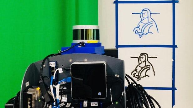 """美大学生""""教会""""机器人临摹手写和绘画内容"""