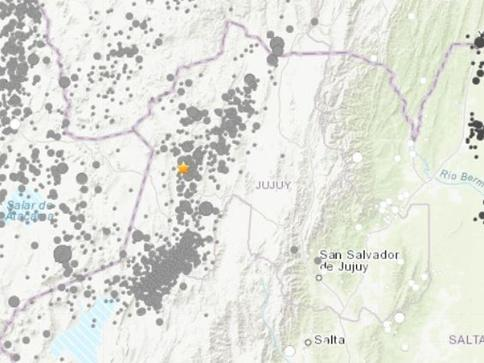 阿根廷西北部发生5.0级地震 震源深度192公里