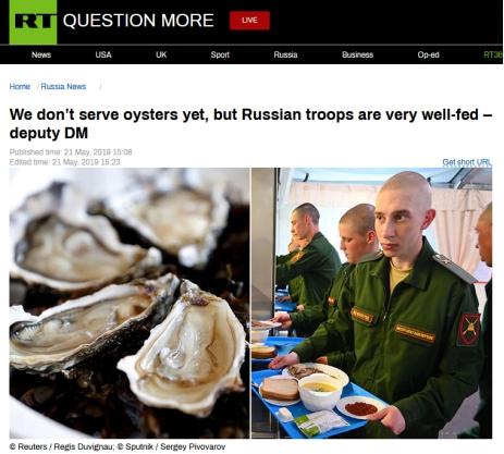 """""""戰鬥民族""""士兵吃什麼?俄國防副部長:沒有牡蠣,可營養已經夠充足瞭"""