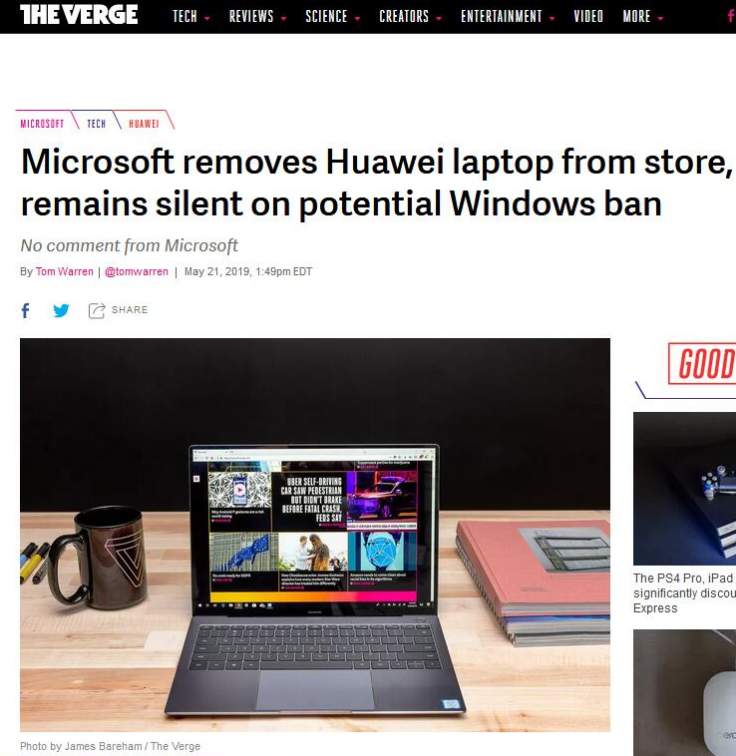 美媒:微软线上商店下架华为笔记本电脑