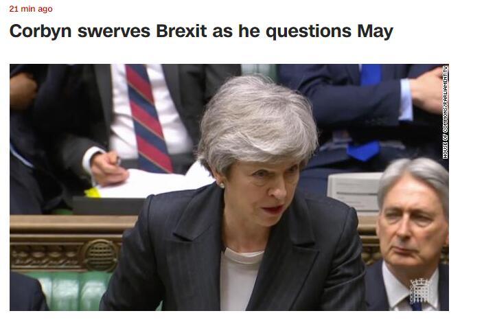 特雷莎?梅在下议院回答议员提问,工党领袖没问脱欧