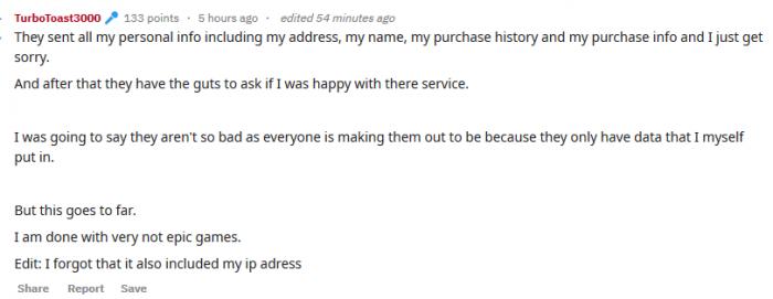 Epic误将玩家信息随机发送给陌生人