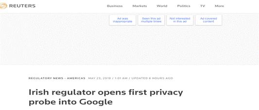 谷歌被查了!爱尔兰监管机构就隐私问题对谷歌开展首次调查