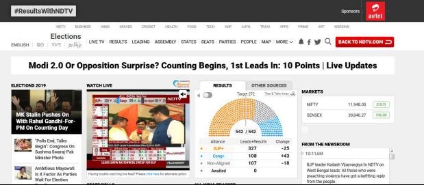 印媒公布大选计票初步结果,莫迪领导联盟拿下过半数席位_法国新闻_法国中文网