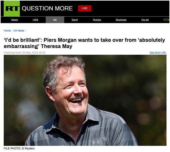 """""""提名""""自己代替特雷莎·梅当英国首相,BBC主持人:我会很出色"""
