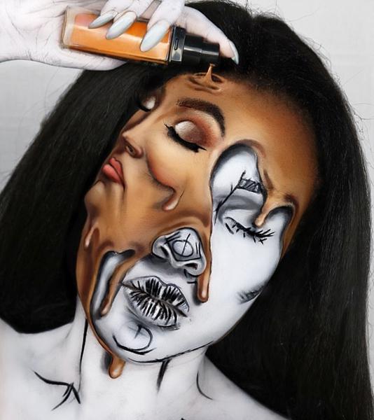 惊艳!化妆师以脸当画布创作逼真视错觉画像