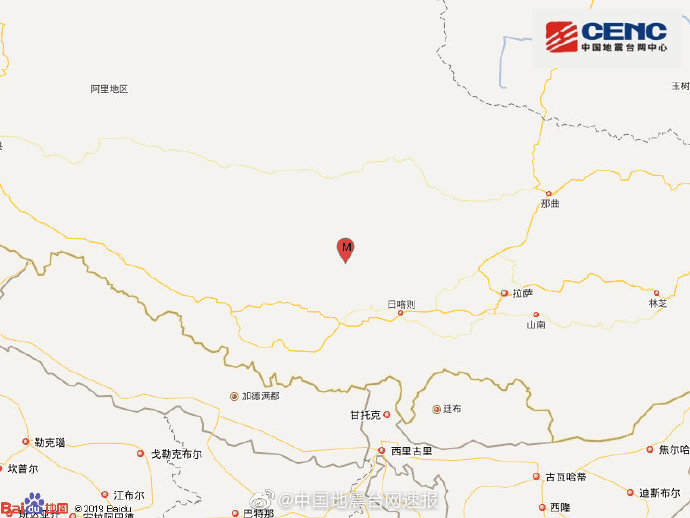 西藏日喀则市连发两次4级以上地震