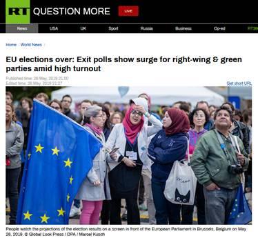 欧洲议会选举出口民调显示:右翼政党支持率飙升