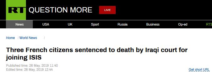 """伊拉克判处三名法籍""""伊斯兰国""""成员死刑"""