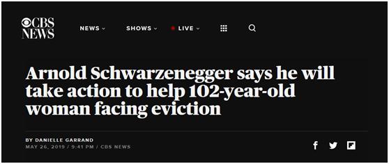 美国102岁老人恐被房东赶出门,施瓦辛格也为她发声:好狠心