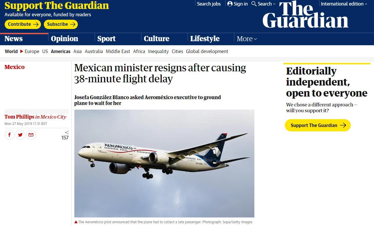 """迟到后""""走后门""""导致航班延误38分钟,墨西哥环境部长辞职"""